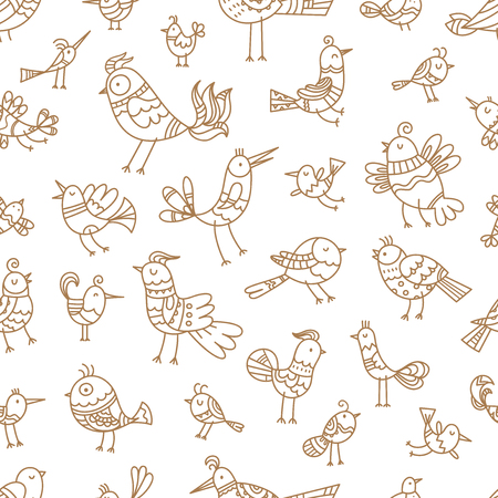 Seamless pattern with cute cartoon birds on white background. Vector contour image. Doodle style. Иллюстрация