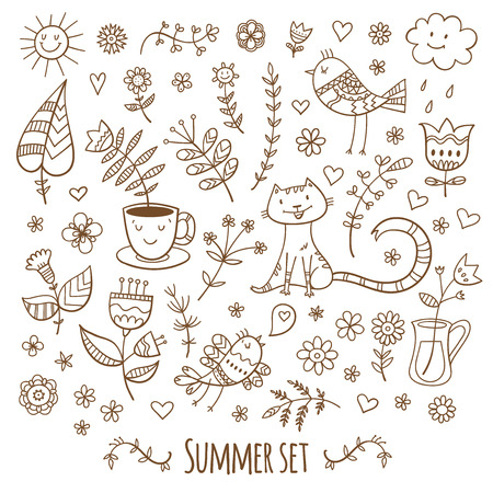 Vector summer set. Plants, cat and birds. Doodle image.