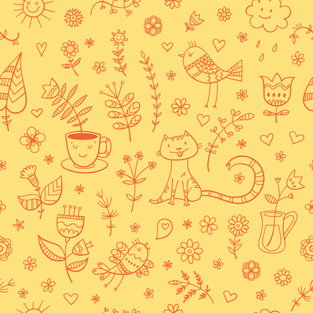 Seamless summer pattern with cute cartoon cats, birds fnd plants  on yellow  background. Vector contour image. Doodle style.