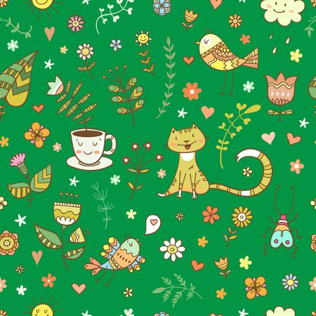 Seamless summer pattern with cute cartoon cats, birds and plants  on green  background. Vector contour image. Doodle style. Illustration