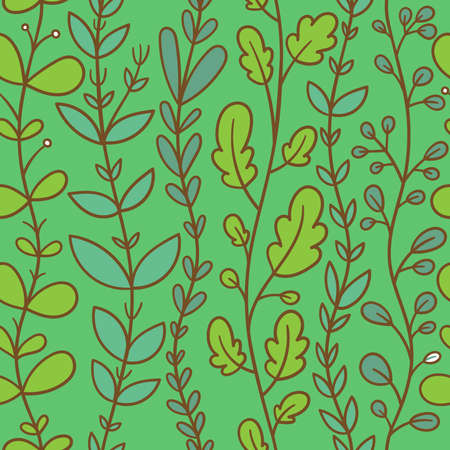 Seamless pattern with different plants on green background. Vector print with herbs.