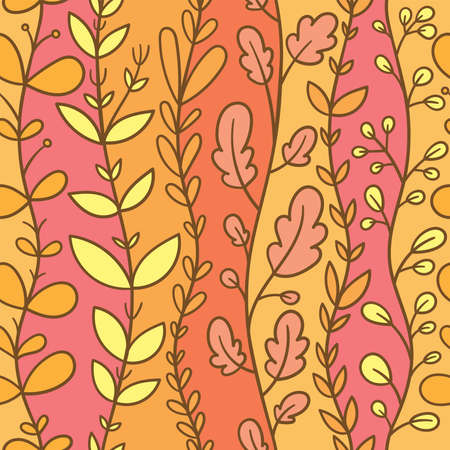 Autumn seamless pattern with different plants on orange background. Vector print with herbs.