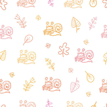 Autumn seamless pattern with cute cartoon snails and leaves. Leaf fall and funny animals. Vector contour image.