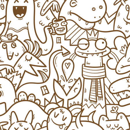 Seamless halloween pattern with cute cartoon monsters on white background. Print with funny characters. Vector contour image.