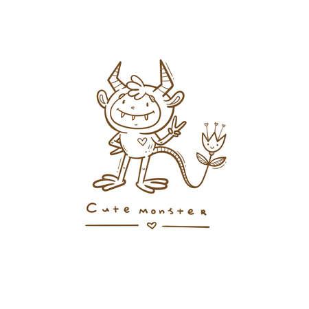 Doodle card with cute cartoon monster. Fabulous fictional character. Halloween poster. Vector contour colorful image. Ilustração