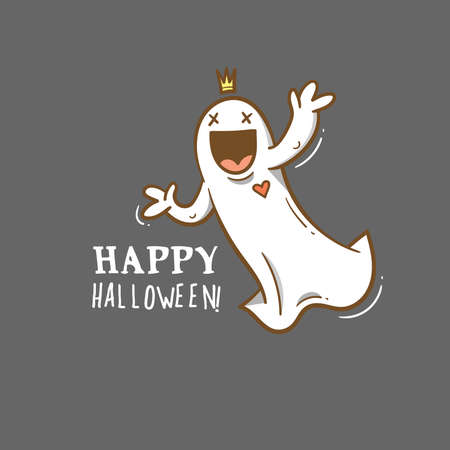 Doodle card with cute cartoon ghost. Fabulous fictional character. Halloween poster. Vector contour image.