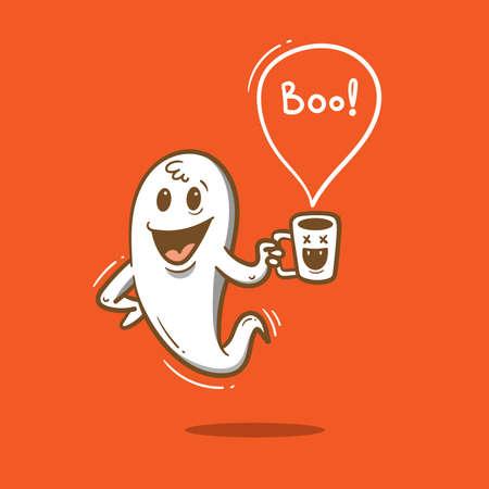 Doodle card with cute cartoon ghost. Fabulous fictional character. Halloween poster. Vector contour colorful image. Ilustração