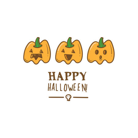 Halloween card with cute pumpkins. Holiday poster with spooky characters. Vector contour colorful image.
