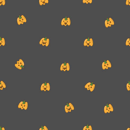 Seamless pattern with cute cartoon pumpkins on dark background. Halloween print. Creepy and funny characters.