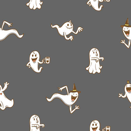Seamless pattern with cute cartoon ghosts on dark background. Halloween print. Creepy and funny characters.