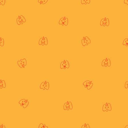 Seamless pattern with cute cartoon pumpkins on orange background. Halloween print. Creepy and funny characters. Ilustração