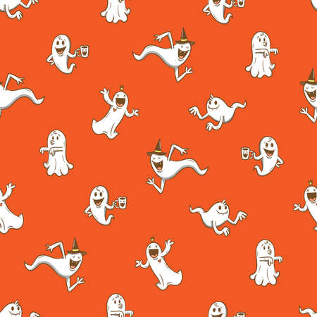 Seamless pattern with cute cartoon ghosts on red background. Halloween print. Creepy and funny characters.