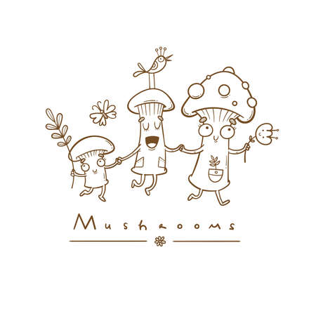 Card with cute cartoon mushrooms and plants. Funny characters. Vector contour image no fill.