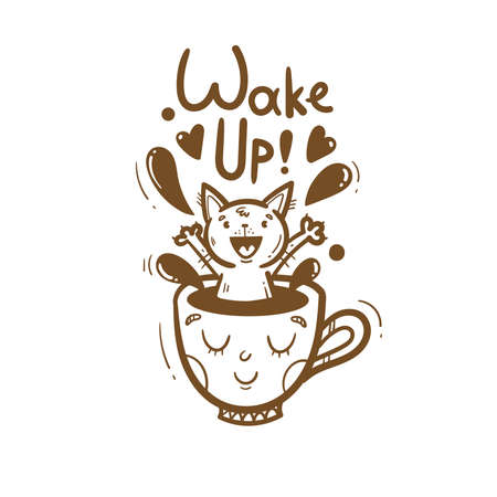 Morning card with cute cartoon cat. Cheerful kitten sits in mug with coffee. Wake up and drink hot tea. Funny animal. Vector contour image no fill. Illustration for kids.