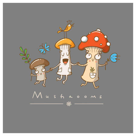 Card with cute cartoon mushrooms and plants. Funny characters. Vector contour colorful image. 矢量图像