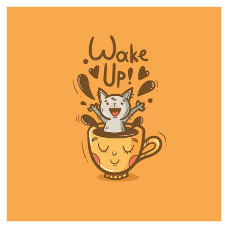 Morning card with cute cartoon cat. Cheerful kitten sits in mug with coffee. Wake up and drink hot tea. Funny animal. Vector contour colorful image. Illustration for kids.  イラスト・ベクター素材