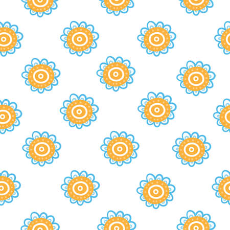 Seamless pattern with cartoon nasturtium on white background. Floral print with buttercups. Abstract vector flowers.