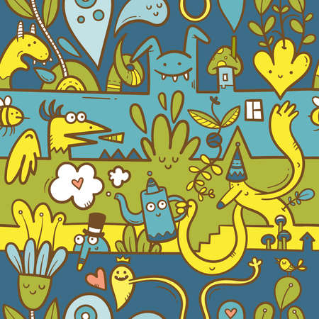 Seamless surreal pattern with cute cartoon monsters on colorful background. Wallpapers with various creatures. Print with funny doodle plants and dragons.