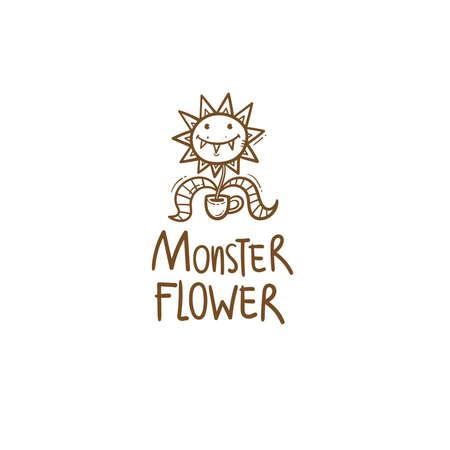 Card with Venus flytrap. Comic drawing of predatory flower. Vector doodle image. Monster plant print. 矢量图像