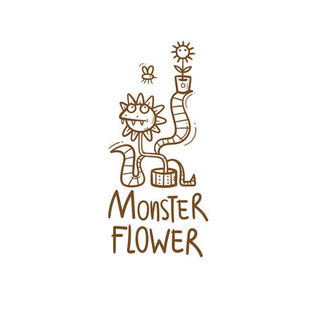 Card with Venus flytrap. Monster plant print. Comic drawing of predatory flower. Vector doodle image.