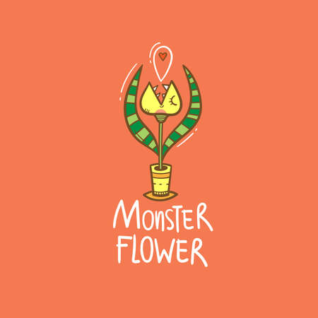 Card with Venus flytrap. Comic drawing of predatory flower. Vector doodle colorful image.
