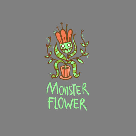 Card with Venus flytrap. Comic drawing of predatory flower. Vector doodle image. Monster plant print.