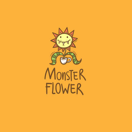 Card with Venus flytrap. Comic drawing of predatory flower. Vector doodle colorful image. Monster plant print. 矢量图像