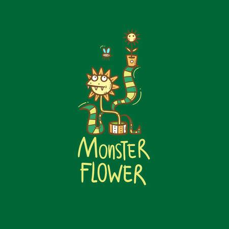 Card with Venus flytrap. Monster plant print. Comic drawing of predatory flower. Vector doodle colorful image. 矢量图像