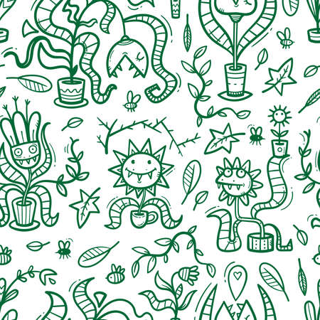 Seamless pattern with Venus flytraps on white background. Monsters plants print. Comic drawing of predatory flowers. Vector doodle wallpaper. 矢量图像