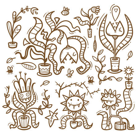 Set with Venus flytraps. Monsters plants print. Comic drawing of predatory flowers. Vector doodle stickerpack. 矢量图像
