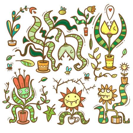 Set with Venus flytraps. Monsters plants print. Comic drawing of predatory flowers. Vector doodle colorful stickerpack. 矢量图像
