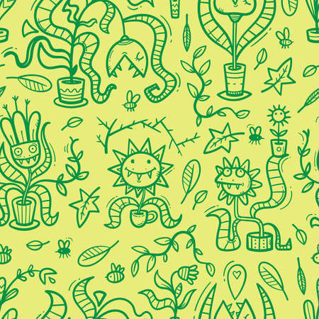 Seamless pattern with Venus flytraps on green background. Monsters plants print. Comic drawing of predatory flowers. Vector doodle wallpaper. 矢量图像