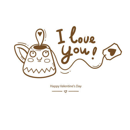 Valentine's day vector card with cute cartoon cup and tea. Cheerful couple in love. Holiday doodle print with mug. Anthropomorphic character in the form of dishes. Illusztráció