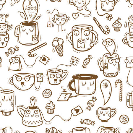 Seamless pattern with cute cups and sweets on white background. Wallpaper with mugs and tea sachets. Dishes with tastydrink. Cartoon doodle print.