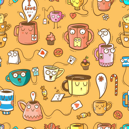 Seamless pattern with cute cups and sweets on orange background. Wallpaper with mugs and tea sachets. Dishes with tastydrink. Cartoon doodle print.