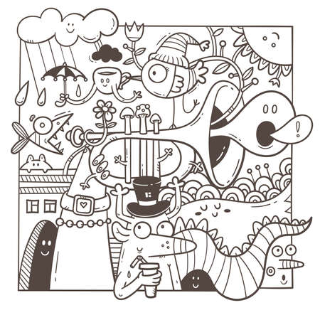 Coloring book antistress with funny creatures. Doodle print with dragon, monster and musical instrument. Line art poster. Vettoriali