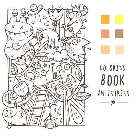 Coloring book antistress with funny creatures. Doodle print with dragon, monster and cups. Line art poster.