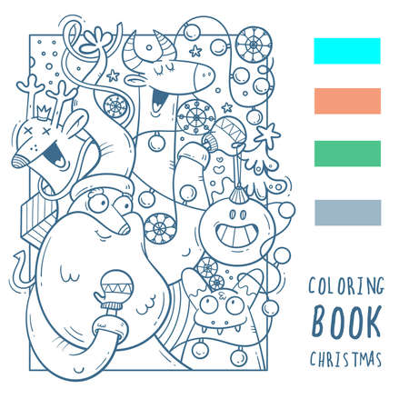 Christmas coloring book with Santa Claus, deer and bull. New Year's funny print. Festive winter doodle poster.