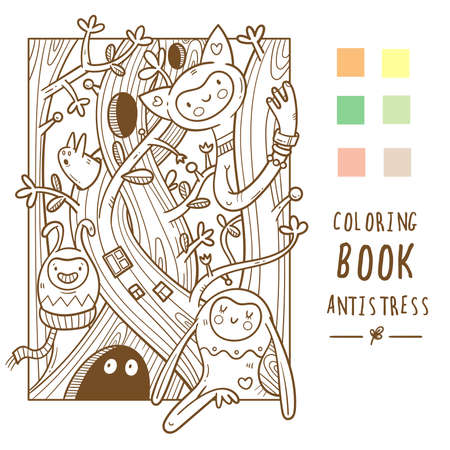 Coloring book antistress with cute cartoon funny creatures. Doodle print with monster and trolls. Line art forest poster.