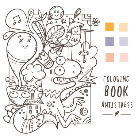 Coloring book antistress with funny cute cartoon creatures. Doodle print with dragon, monster and bird. Line art poster.