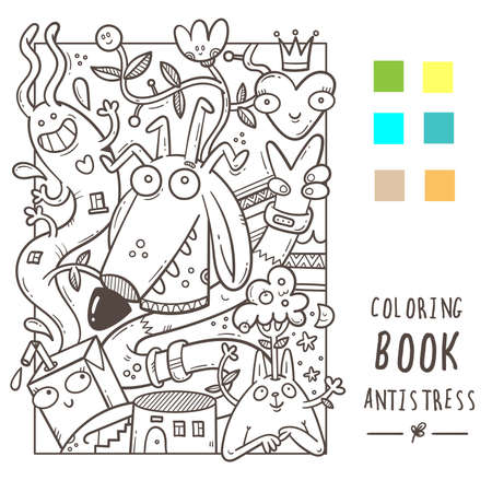 Coloring book antistress with funny cute cartoon creatures. Doodle print with dog and rabbit. Line art poster.