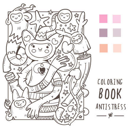 Coloring book antistress with funny cute cartoon creatures. Doodle print with monster and trolls. Line art poster. Vettoriali
