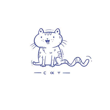 Card with cute cartoon cat. Funny doodle kitten. Vector contour image. Playful animal print.