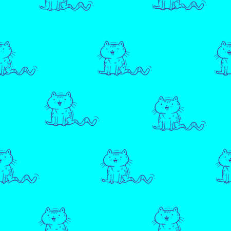 Seamless pattern with cute cartoon cats on blue background. Wallpaper with funny kittens. Doodle animal print. 矢量图像