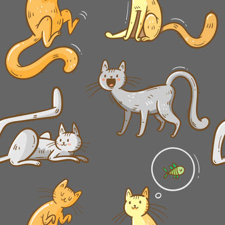 Seamless pattern with cute cartoon cats on gray background. Funny doodle kitten wallpaper. Vector colorful doodle image. Playful animal print.