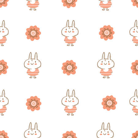 Seamless pattern with cute cartoon bunny in dress on white background. Wallpaper with cheerful rabbitin in clothes. Funny hare print. Anthropomorphic character for baby shower.