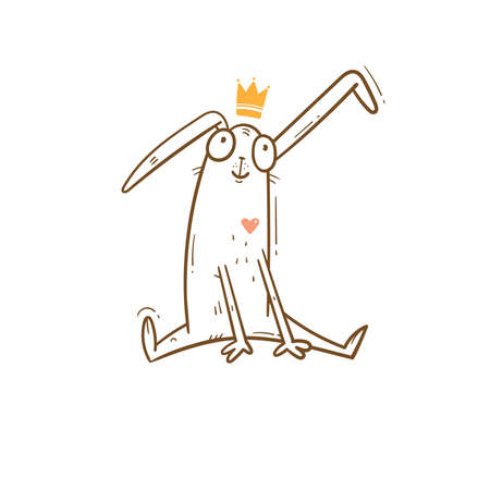 Vector card with cute cartoon bunny in crown. Cheerful rabbiti. Funny hare print. Anthropomorphic character for desing.