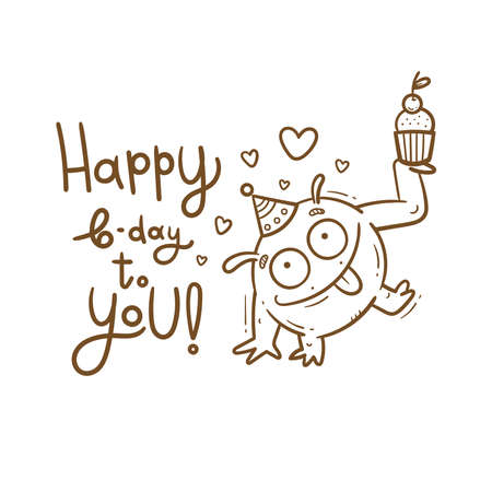 Birthday card with cute cartoon monster. Creature in party hats. Vector doodle poster. Little funny animal print. Сake and gift.