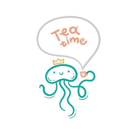 Сard with cute cartoon jellyfish and tea. Funny animal print. Vector doodle poster. Line art children illustration.