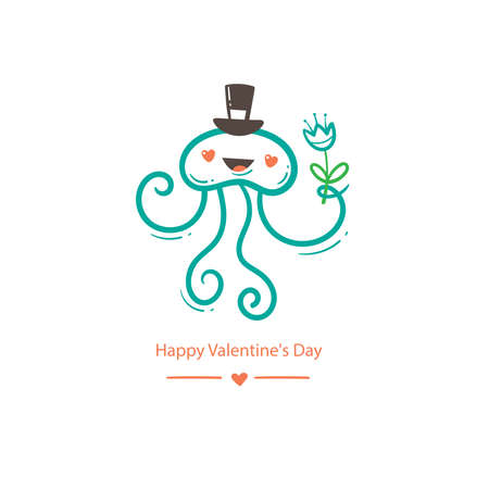 Valentine's day card with cute cartoon jellyfish in hat. Funny animal print. Doodle holiday poster.
